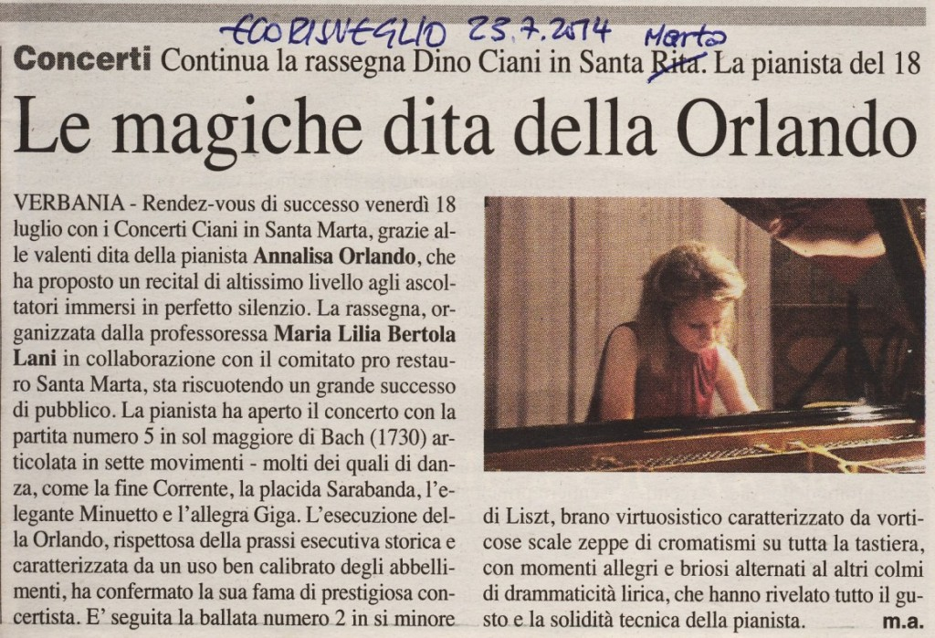 pianista Annalisa Orlando - S.Marta 18.7.2014